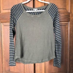 SPLENDID THERMAL STRIPED LONG SLEEVE TOP GREEN S